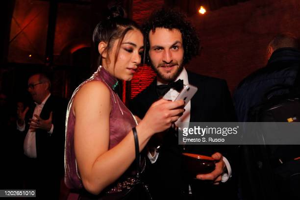 Giulia Alberoni and Gianmarco Vettori attend the Netflix's Luna Nera Premiere Party on January 28 2020 in Rome Italy