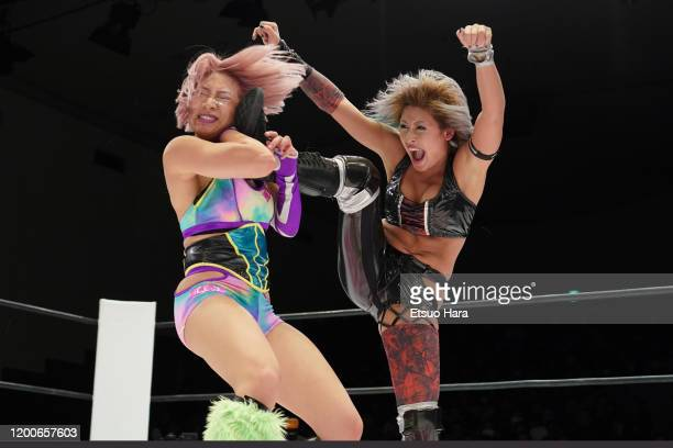 Giulia and Hana Kimura compete during the Women's ProWrestling 'Stardom' at Korakuen Hall on January 19 2020 in Tokyo Japan