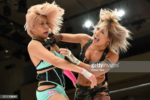 Giulia and Hana Kimura compete during the Women's ProWrestling Stardom No People Gate at Korakuen Hall on March 08 2020 in Tokyo Japan The event is...