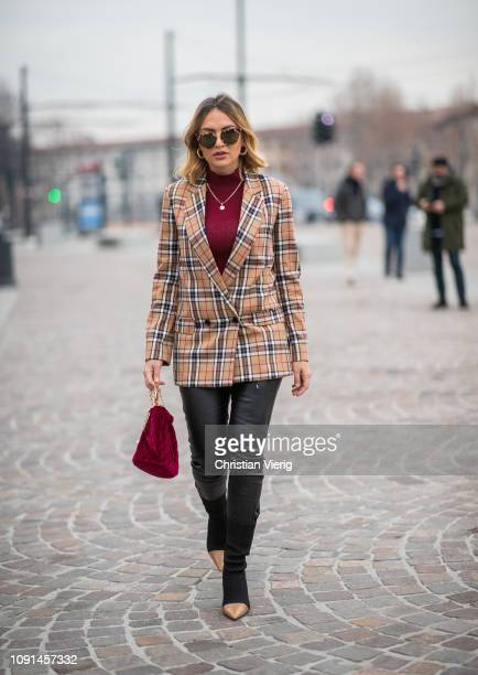 Giulia Andrea Gaudino is seen wearing Burberry jacket bordeaux bag and turtleneck during the 95th Pitti Uomo at Fortezza Da Basso on January 08 2019...