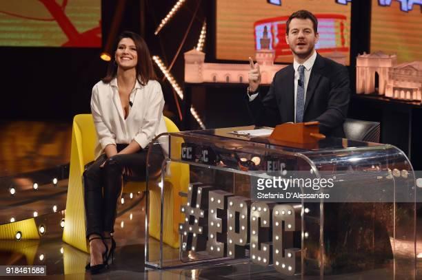 Giulia Bevilacqua and Alessandro Cattelan attend 'E Poi C'e Cattelan' tv show on February 14 2018 in Milan Italy