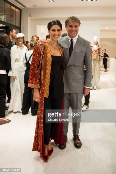 Giulia Bevilacqua and Brunello Cucinelli are seen at the Brunello Cucinelli presentation during Milan Fashion Week Spring/Summer 2019 on September 19...
