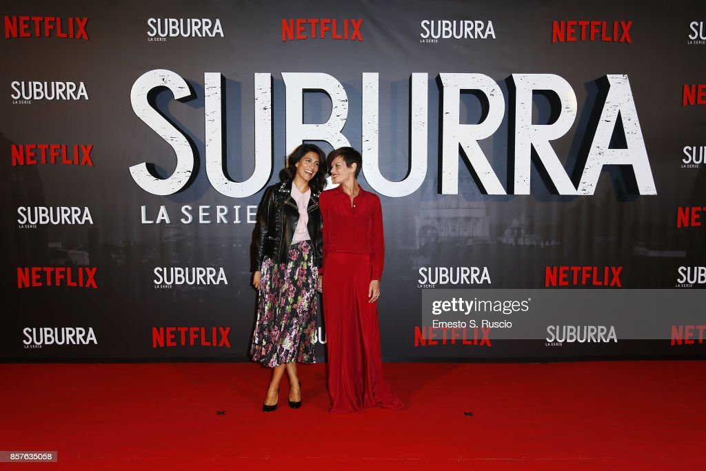 Giulia Bevilacqua and Claudia Pandolfi attend Netflix's Suburra The Series Premiere at The Space Moderno on October 4, 2017 in Rome, Italy.