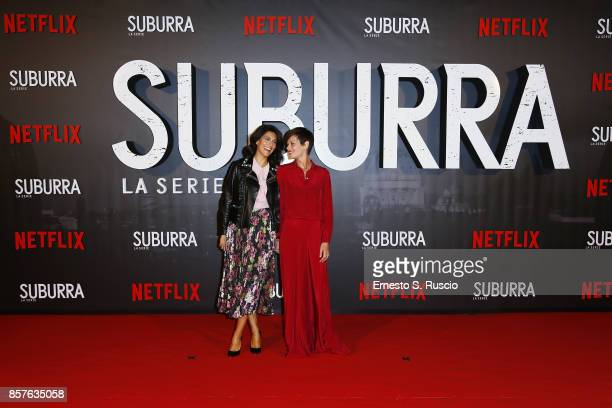 Giulia Bevilacqua and Claudia Pandolfi attend Netflix's Suburra The Series Premiere at The Space Moderno on October 4 2017 in Rome Italy