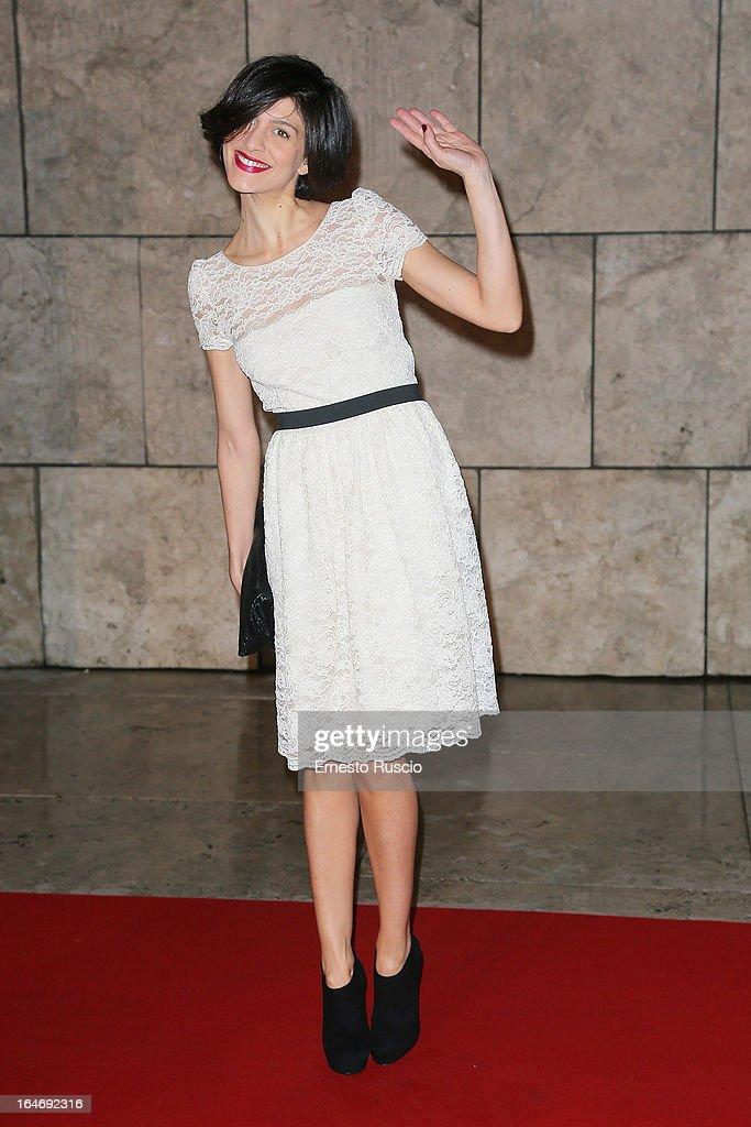 Giulia Bevilacqua attends the 'Viaggio Sola' premiere at Ara Pacis on March 26, 2013 in Rome, Italy.