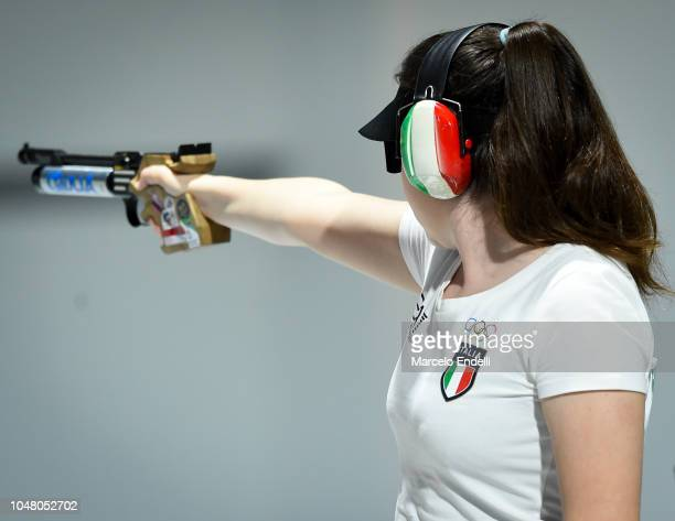 Giulia Campostrini of Italy shoots during a 10m Air Pistol Women's Qualification Competition during Day 3 of Buenos Aires 2018 Youth Olympic Games at...