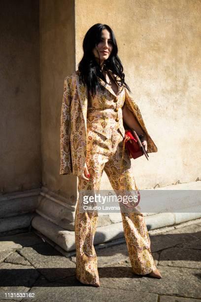 Giulia De Lellis is seen outside Etro on Day 3 Milan Fashion Week Autumn/Winter 2019/20 on February 22 2019 in Milan Italy