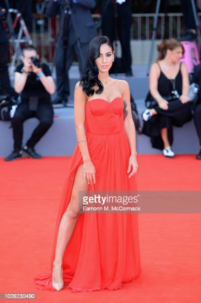 Giulia De Lellis walks the red carpet ahead of the 'The Sisters Brothers' screening during the 75th Venice Film Festival at Sala Grande on September...