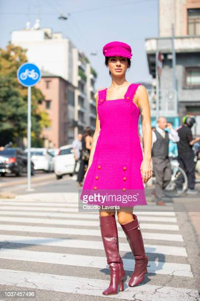 Giulia De Lellis wearing fuchsia dress and hat is seen after the Blumarine show during Milan Fashion Week Spring/Summer 2019 on September 21 2018 in...