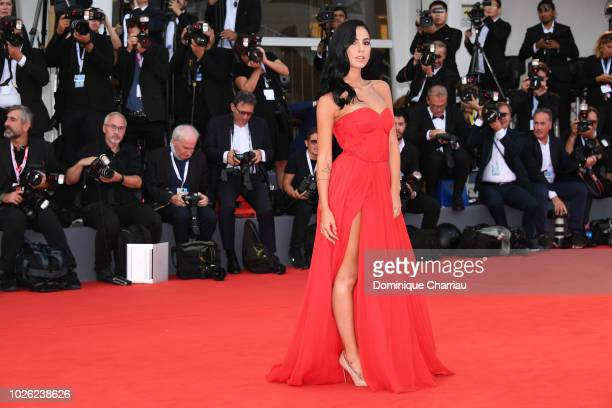 Giulia De Lelliswalks the red carpet ahead of the 'The Sisters Brothers' screening during the 75th Venice Film Festival at Sala Grande on September 2...