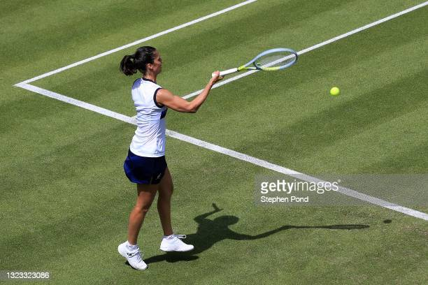 Giulia Gatto-Monticone of Italy in action against Eden Silva of Great Britain in qualifying during the Viking Classic Birmingham at Edgbaston Priory...