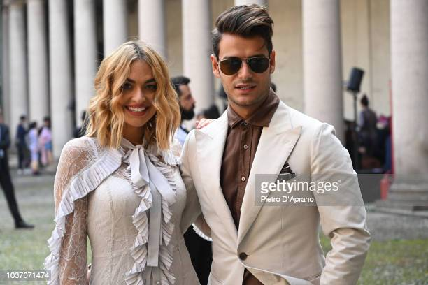 Clizia Incorvaia attends the Blumarine show during Milan Fashion Week Spring/Summer 2019 on September 21 2018 in Milan Italy