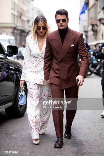 Giulia Gaudino and Frank Gallucci attends the Ermanno Scervino show at Milan Fashion Week Autumn/Winter 2019/20 on February 23 2019 in Milan Italy