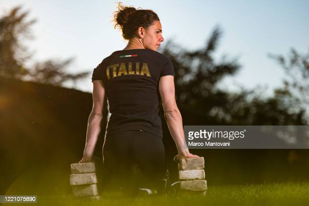 Giulia Ghiretti trains in isolation on April 25, 2020 in Parma, Italy. Ghiretti holds the world record for the 50 metres butterfly category S5 and 6...