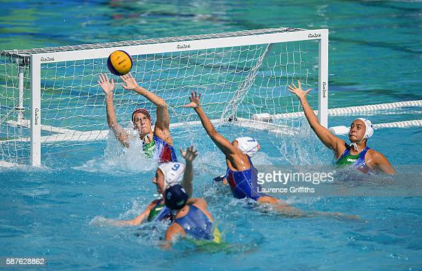 Giulia Gorlero of Italy makes a sveduring the Water Polo Preliminary Round Group A match between Italy and Brazil on Day 4 of the Rio 2016 Olympic...