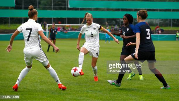 Giulia Gwinn and Janina Minge of Germany challenges Brianna Pinto and Tierna Davidson of USA during the international friendly match between U19...