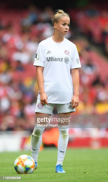 Giulia Gwinn of Bayern looks on during the Emirates Cup match between Arsenal Women and FC Bayern Munich Women at the Emirates Stadium on July 28...