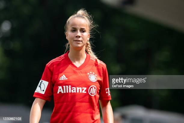 Giulia Gwinn of Bayern Muenchen looks on during the Flyeralarm Frauen Bundesliga match between 1 FC Koeln Women's and Bayern Munich Women's at...