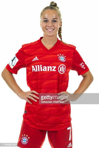 Giulia Gwinn of FC Bayern Muenchen poses during the Women's Team Presentation at FC Bayern Campus on July 26 2019 in Munich Germany