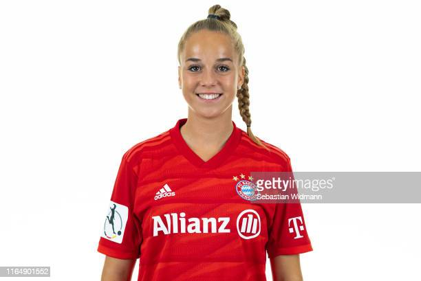 Giulia Gwinn of FC Bayern Muenchen poses during the Women's Team Presentation at FC Bayern Campus on July 26, 2019 in Munich, Germany.