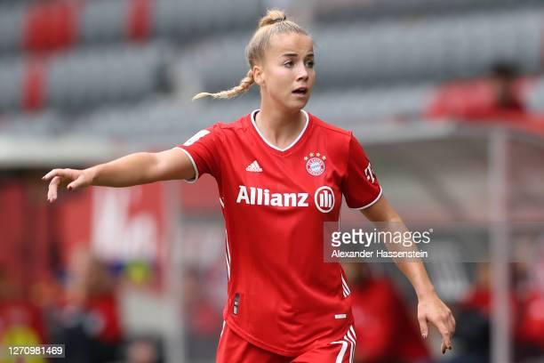 Giulia Gwinn of FC Bayern Muenchen reacts during the Flyeralarm Frauen Bundesliga match between FC Bayern Muenchen Women and SC Sand Women at FC...