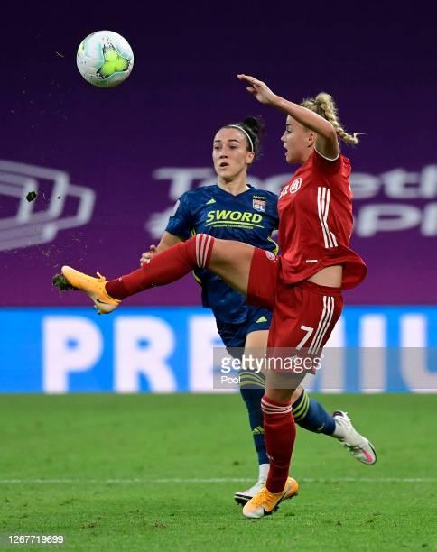 Giulia Gwinn of FC Bayern Munich attempts to control the ball during the UEFA Women's Champions League Quarter Final match between Olympique Lyon...