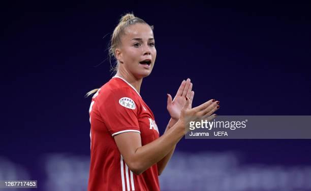 Giulia Gwinn of FC Bayern Munich reacts during the UEFA Women's Champions League Quarter Final match between Olympique Lyon Women and FC Bayern...
