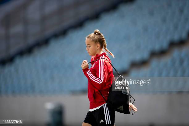 Giulia Gwinn of Germany arrives to a training session on June 11 2019 in Valenciennes France Germany will play against Spain on June 12 2019