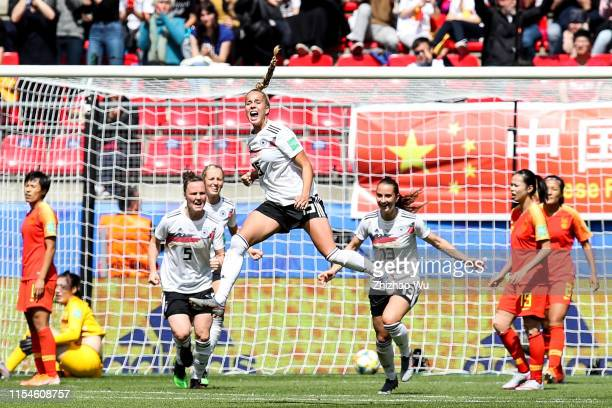 Giulia Gwinn of Germany celebraters her scoring during the 2019 FIFA Women's World Cup France group B match between Germany and China PR at Roazhon...