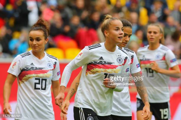 Giulia Gwinn of Germany celebrates after scoring during the UEFA Women's European Championship 2021 qualifier match between Germany and Ukraine at...