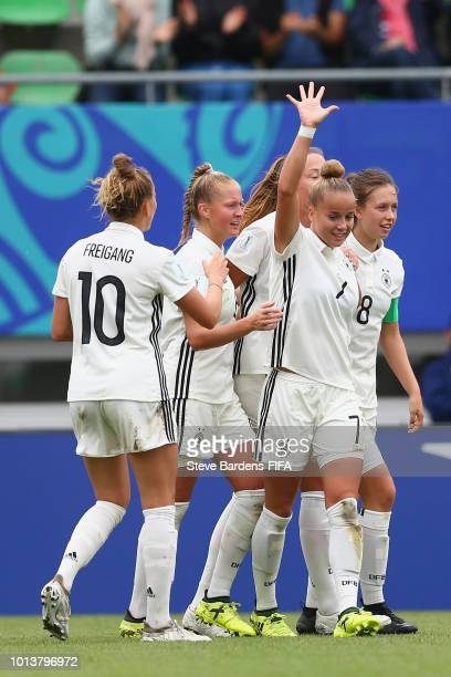 Giulia Gwinn of Germany celebrates scoring a goal with her team mates during the FIFA U20 Women's World Cup France 2018 group D match between Germany...