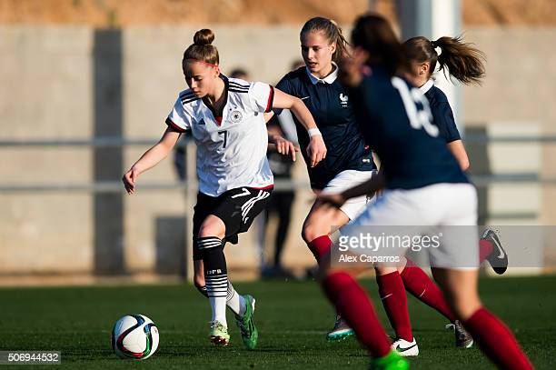 Giulia Gwinn of Germany conducts the ball during the U17 girl's international friendly match between Germany and France on January 26 2016 in Salou...