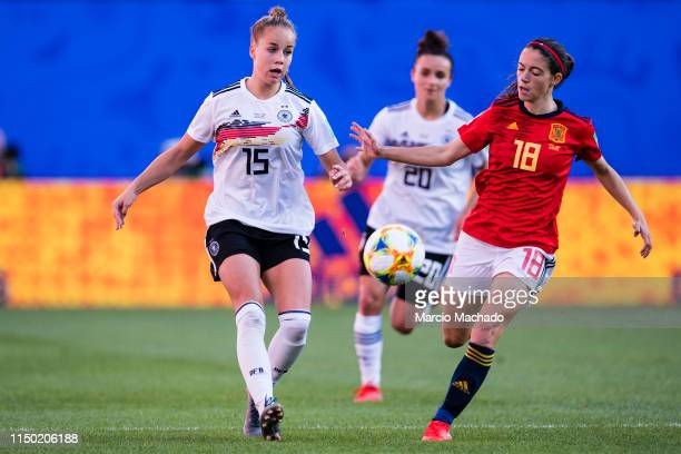 Giulia Gwinn of Germany in action against Aitana Bonmati of Spain during the 2019 FIFA Women's World Cup France group B match between Germany and...