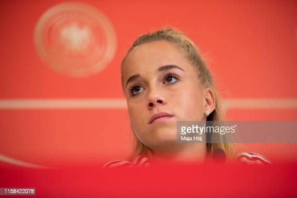 Giulia Gwinn of Germany looks on during a press conference on June 26 2019 in Bruz near Rennes France