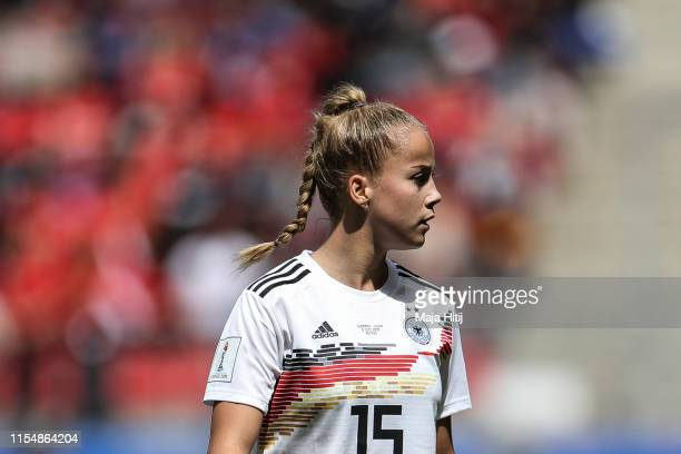 Giulia Gwinn of Germany looks on during the 2019 FIFA Women's World Cup France group B match between Germany and China PR at Roazhon Park on June 08,...