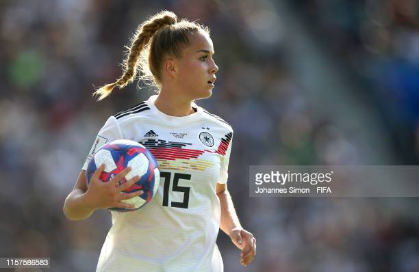 Giulia Gwinn of Germany looks on during the 2019 FIFA Women's World Cup France Round Of 16 match between Germany and Nigeria at Stade des Alpes on...