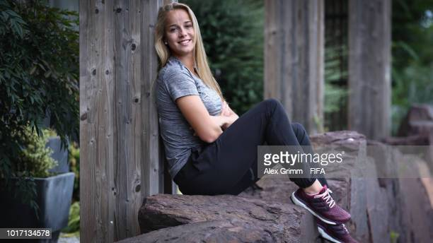 Giulia Gwinn of Germany poses for a photo at the team hotel during the FIFA U20 Women's World Cup France 2018 on August 15 2018 in Ploermel France