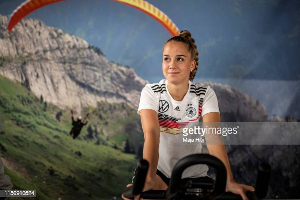 Giulia Gwinn of Germany rides a bike during a training on June 19, 2019 in Grenoble, France.