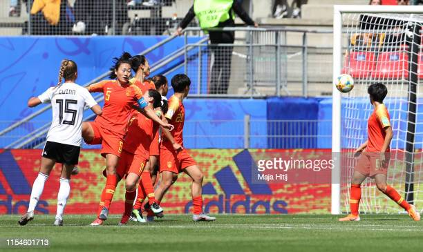 Giulia Gwinn of Germany scores her team's first goal during the 2019 FIFA Women's World Cup France group B match between Germany and China PR at...
