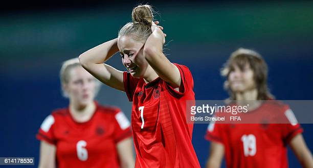 Giulia Gwinn of Germany shows her frustration after losing the FIFA U17 Women's World Cup Quarter Final match between Germany and Spain at Amman...