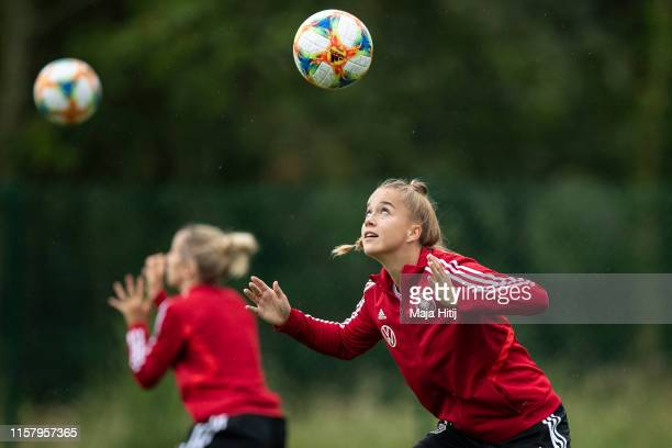Giulia Gwinn of Germany warm up with a ball during a training on June 24 2019 in Rennes France
