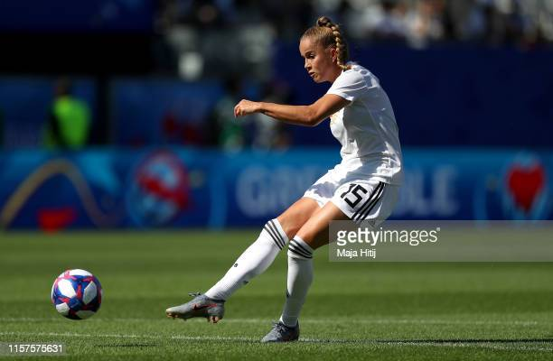 Giulia Gwinn of Germany warms up prior to the 2019 FIFA Women's World Cup France Round Of 16 match between Germany and Nigeria at Stade des Alpes on...