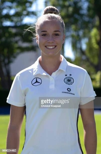 Giulia Gwinn poses during the Germany Women's U20 Team Presentation at Sport Centrum KamenKaiserau on July 1 2018 in Kamen Germany