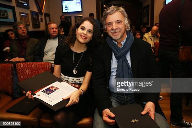 Giulia Luzi and Pinuccio Pirazzoli attend the presentation of 'Il Salvatori 2016' song dictionary at Hard Rock Cafe on December 9, 2015 in Rome,...
