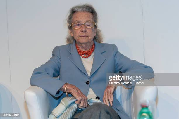 Giulia Maria Crespi honorary chairwoman of the Fondo Ambiente Italiano during a conference at Tempo di Libri International Fair of Publishing on...