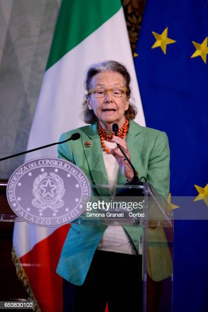 Giulia Maria Crespi honorary president FAI during the presentation of the 25th edition of 'Spring Days of FAI 'on March 14 2017 in Rome Italy