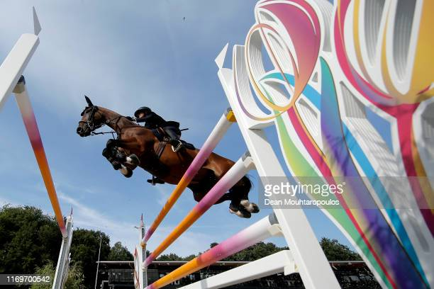 Giulia Martinengo Marquet of Italy riding Elzas competes during Day 3 of the Longines FEI Jumping European Championship, speed competition against...