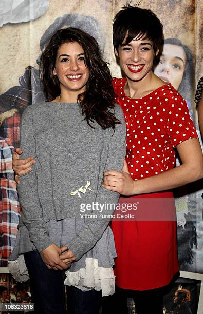 Giulia Michelini and Diane Fleri attend the Febbre da fieno premiere held at Cinema Orfeo on January 25 2011 in Milan Italy