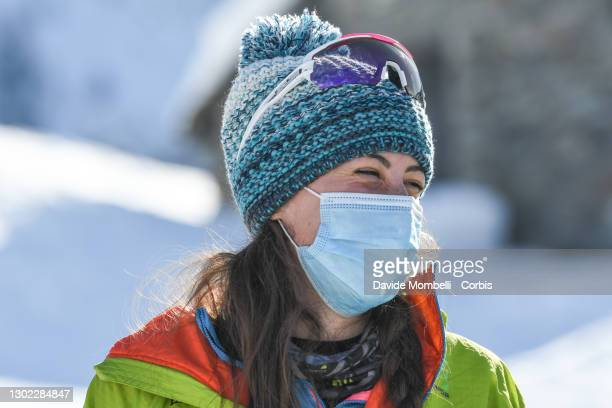 Giulia Murada during the awards ceremony after winning with her teammate Alba De Silvestro during Italian Team Ski Mountaineering Championships on...