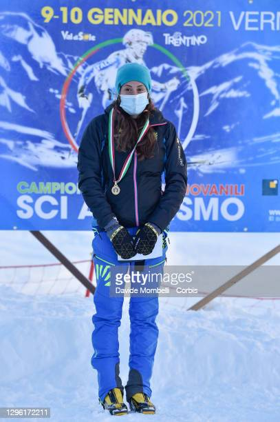 Giulia Muradatakes first place for the U23 women Italian Youth Ski Mountaineering Championships on January 10, 2021 in Vermiglio